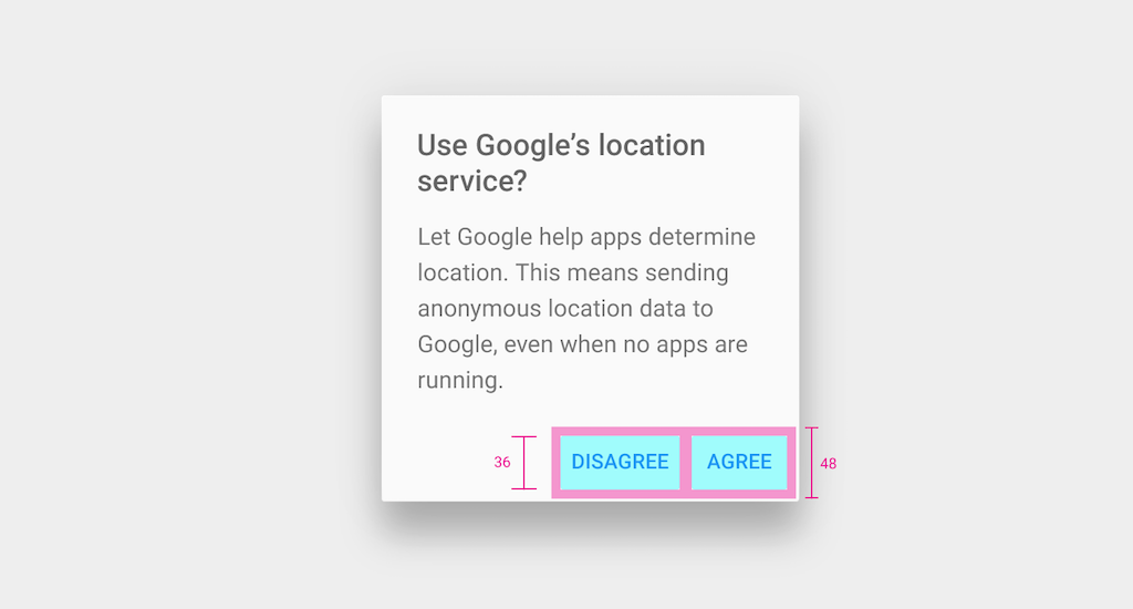 Touch targets in a Material design dialog