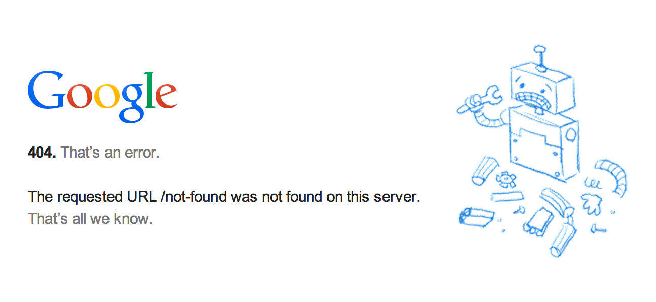 A screen shot of Google's fairly unhelpful 404 page
