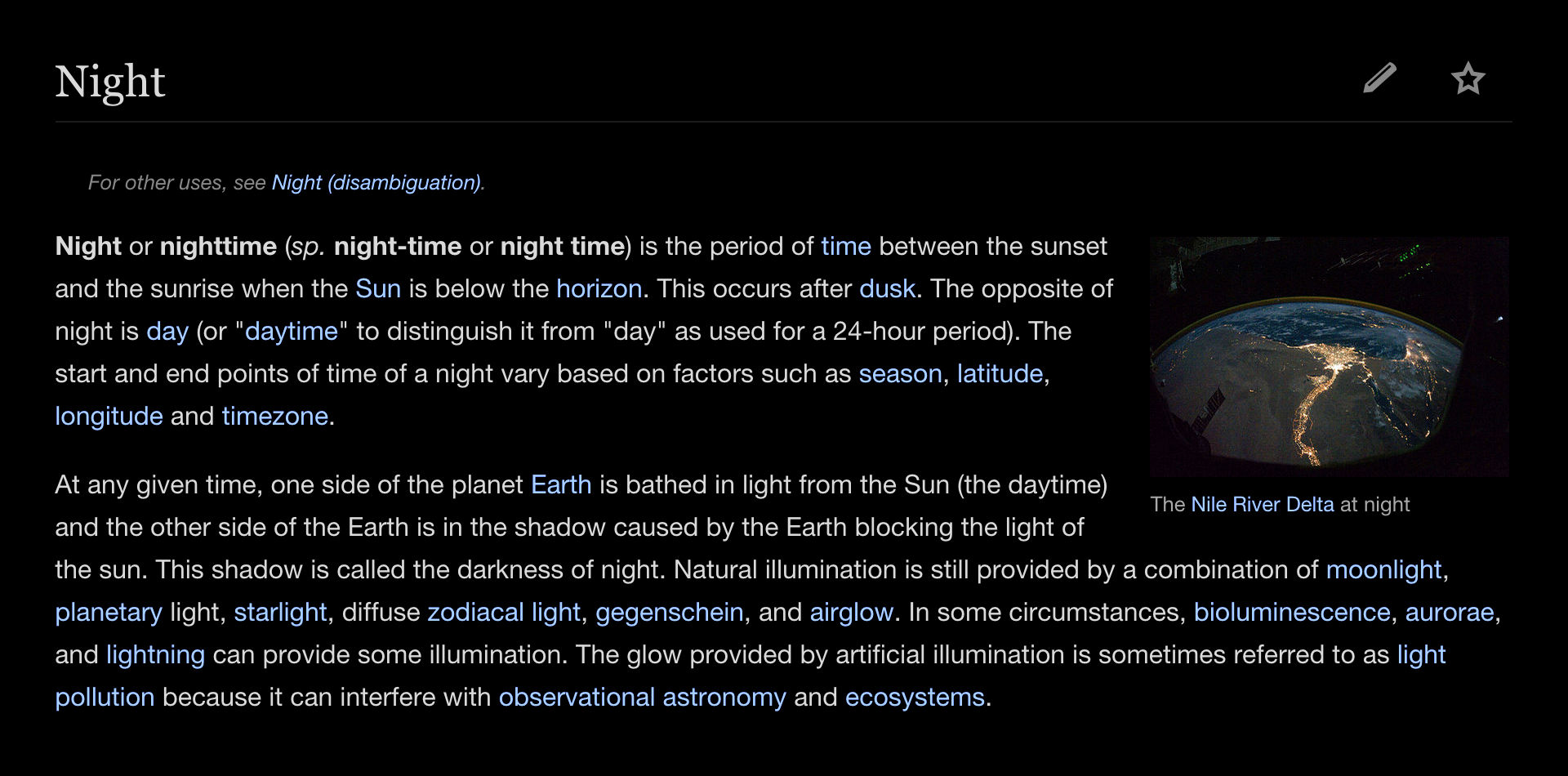 Wikipedia in night mode